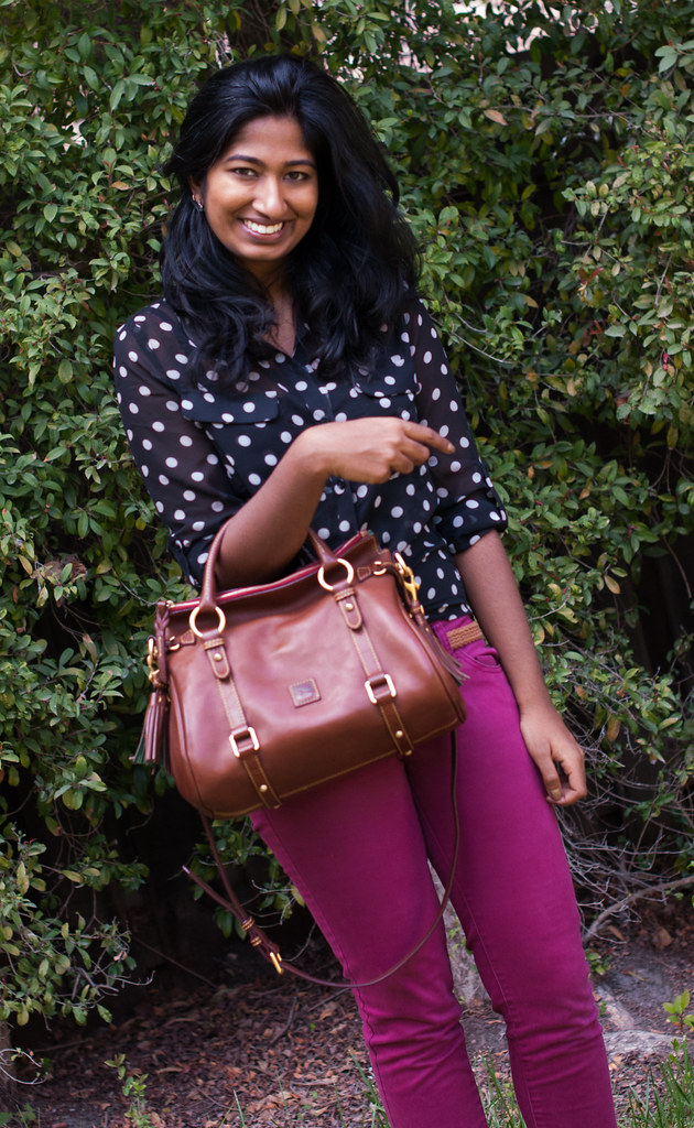 Brightening up Neutral Polka Dots with Colored Jeans-2