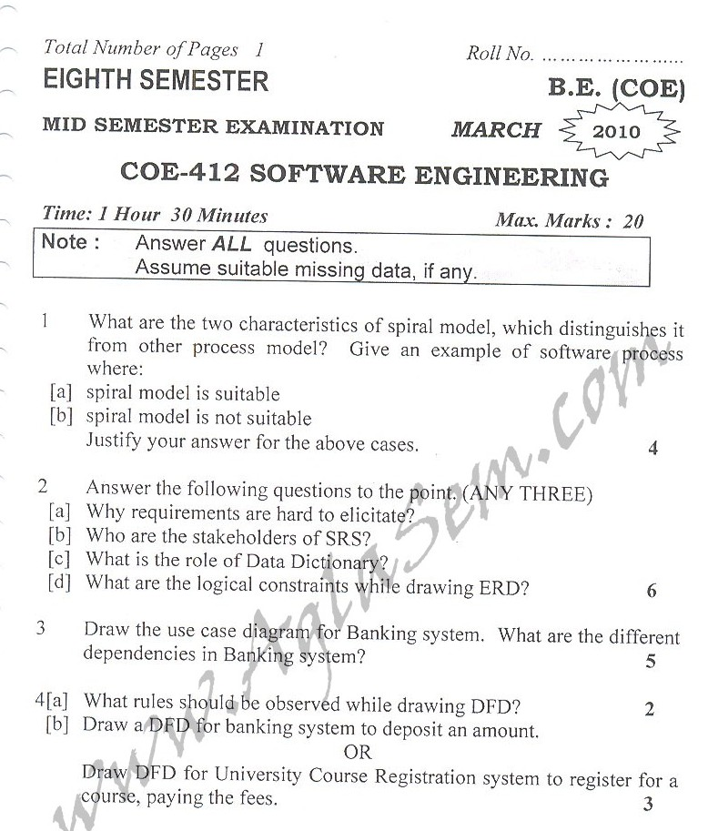 DTU Question Papers 2010 – 8 Semester - Mid Sem - COE-412
