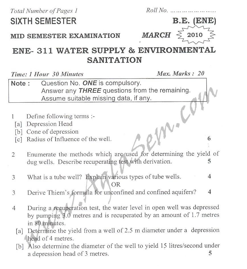 DTU Question Papers 2010 – 6 Semester - Mid Sem - ENE-311