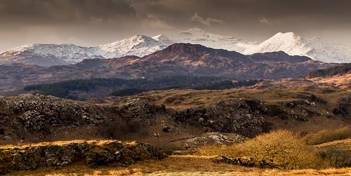 The Snowdon range from Carreg Hylldrem - Explored