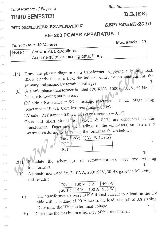 DTU Question Papers 2010 – 3 Semester - Mid Sem - EE-203