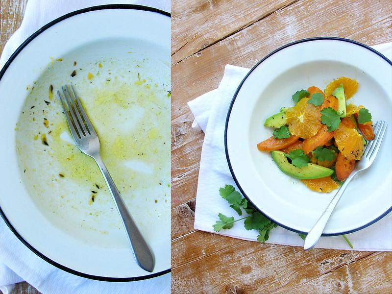 Salada primaveril de cenoura, abacate e laranja