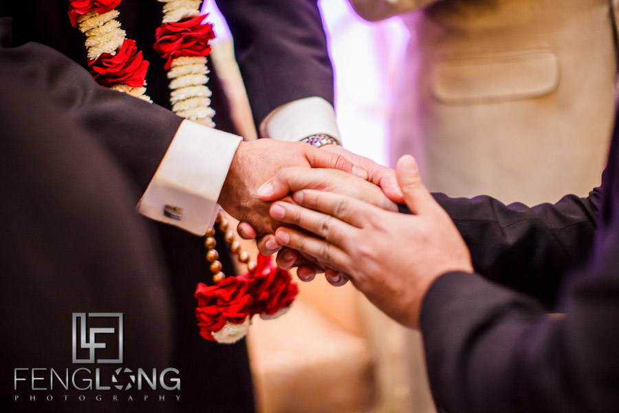 Close up of hand shake after wedding contract signing
