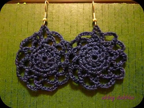 Crochet Navy Doily Earrings