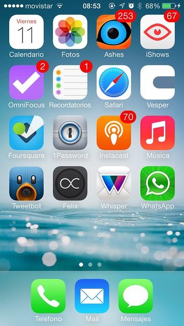 iPhone homescreen octubre 2013
