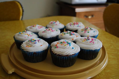 Agave sweetened vanilla cupcakes with Jameson buttercream