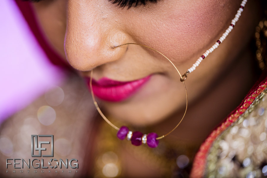 Close up of Indian bride's nose ring for her Muslim wedding Nikkah ceremony