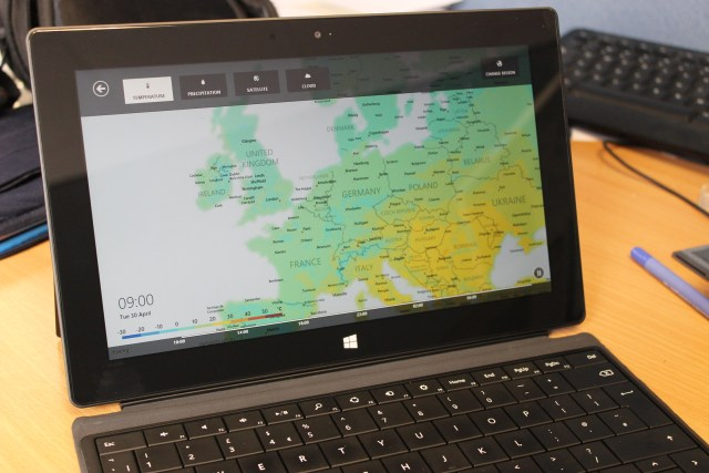 Weather app on the Surface RT