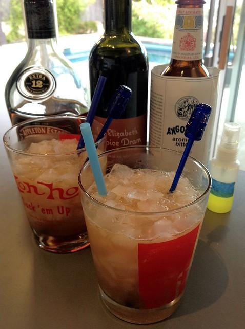 Montego Bay (Donn Beach): dark Jamaican rum, allspice dram, grapefruit, lime, honey syrup, angostura, pastis