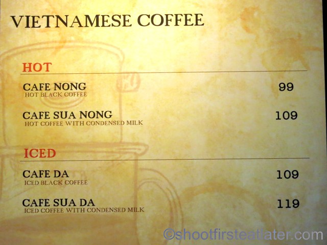 Highlands Coffee menu