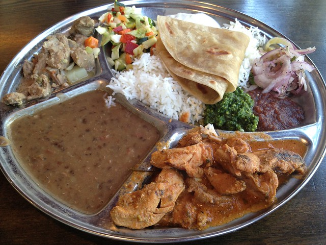 Chicken tikka masala & lamb curry thali plate - Kasa Indian Eatery