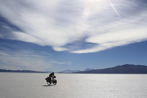 Cycling on the Salar de Coipasa, Bolivia.