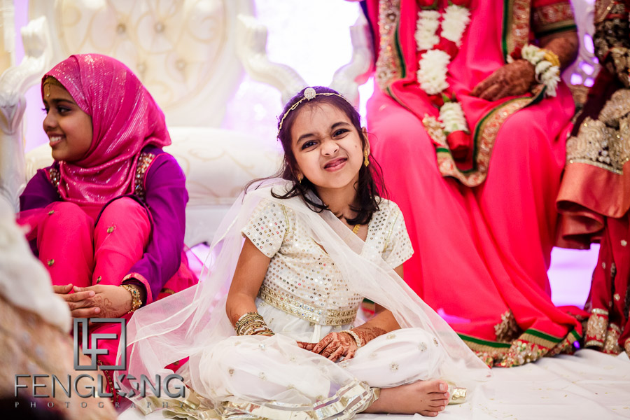 Young girl on stage at Indian wedding