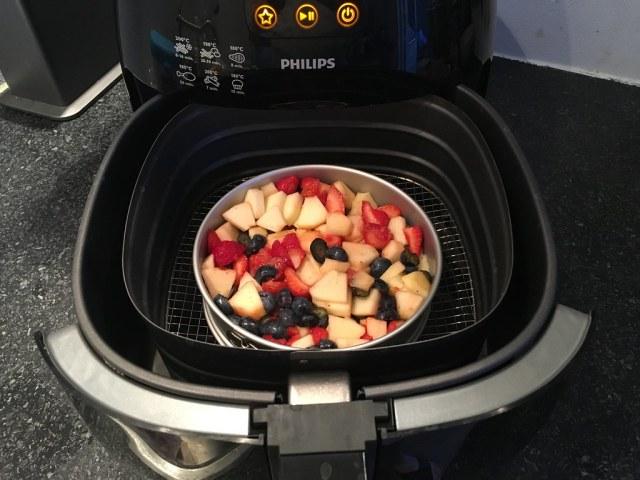 airfryer crumble fruit appel blauwe bes aardbei