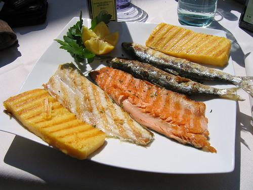 Coregone, trota e sardina di lago ai ferri