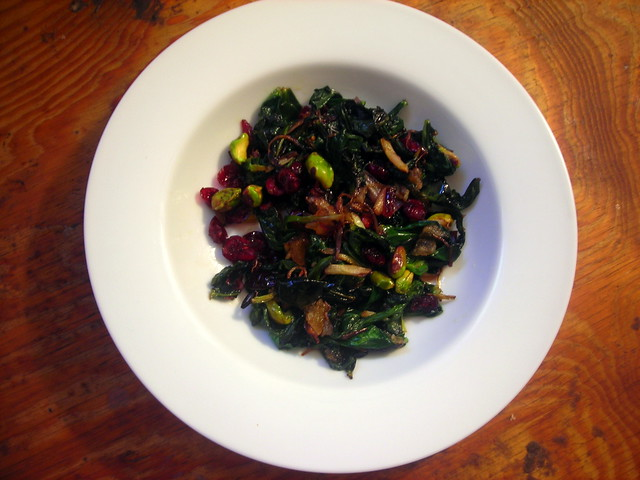 Fava greens with sweet and spicy ramps