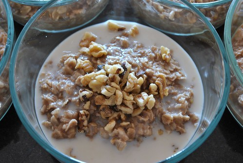 Banana Chocolate Oatmeal with Almond Milk and Walnuts