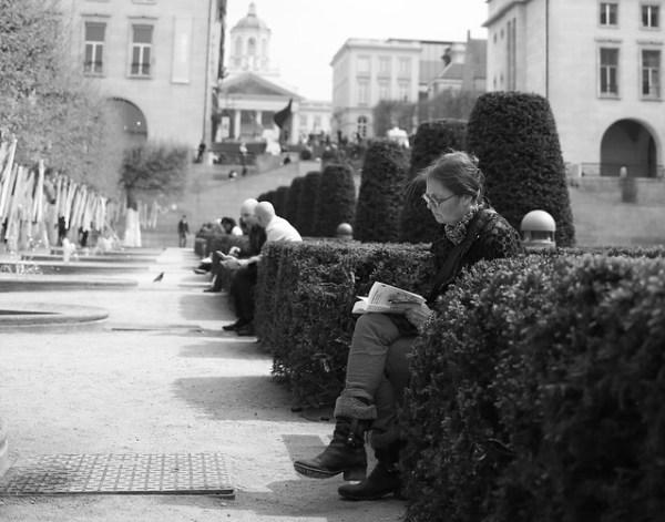 Reading at Mont des Arts