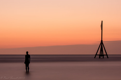 Crosby beach after the sun has set