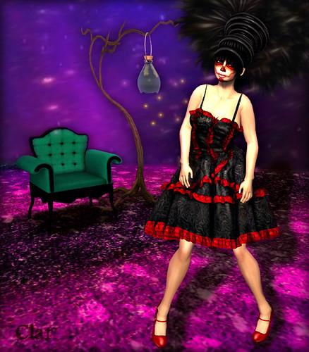 TDF Cabaret Chair Marine + Firefly Catcher Cornflower + K2K Mesh Lolita dress Black