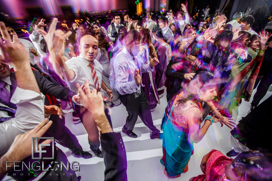 Guests on the dancefloor at the Atlanta Ismaili Indian wedding reception of Kanwal & Ali
