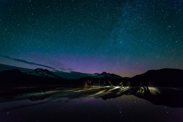 Car Lights Over Sparks Lake