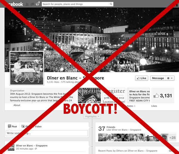 Boycott Dîner en Blanc in SIngapore