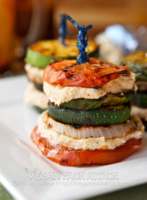 Grilled summer stacks BBQ sauce and stacked together with Smoky Almond cream make for an impressive and delicious summer appetizer.