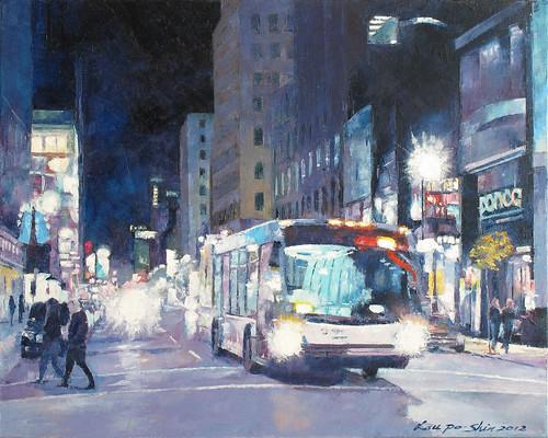 深夜的公交車