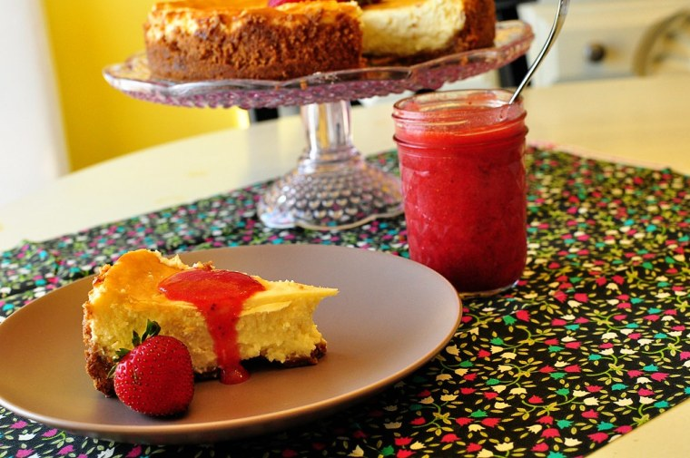 Key Lime Cheesecake with Fresh Strawberry Sauce