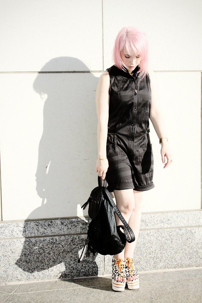 jailhouse chic jumpsuit leather backpack davines pink hair leopard shoes
