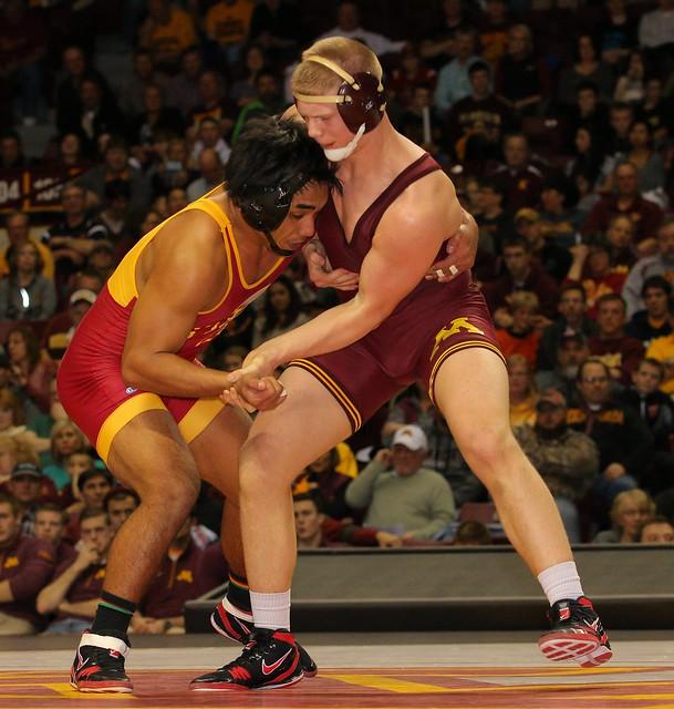 184 - Dane Pestano (Iowa State) dec. Chris Pfarr (Minnesota) 9-2. Photo by Mark Beshey.