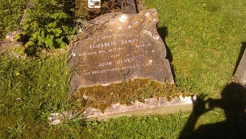 John and Elizabeth Dewey gravestone laying down in 2012