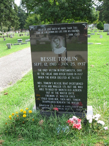 Monument to Bessie Tomlin, Greenlawn Cemetery, Portsmouth, Ohio (photo by the author)