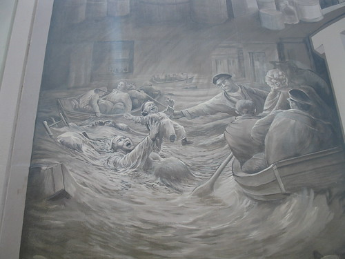 Detail of the Portsmouth 1937 Flood mural, showing Bessie Tomlin (photo by the author)