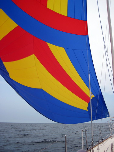 Flying our spinnaker across Cape Cod Bay