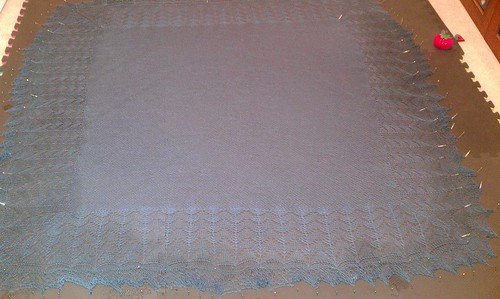 Bridgewater shawl blocking. Had to re-dampen on the edges to finish! by Miss Knotty