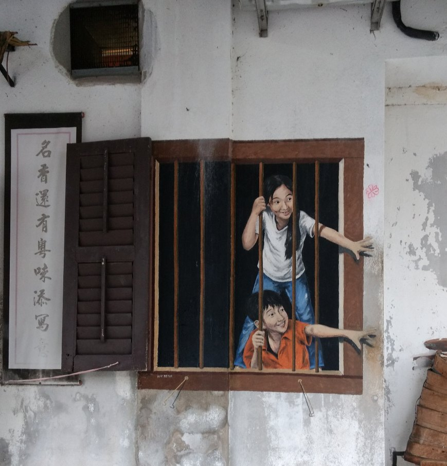 Children at the window, George Town, Penang