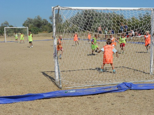 kids playing football at camping ca savio in italia