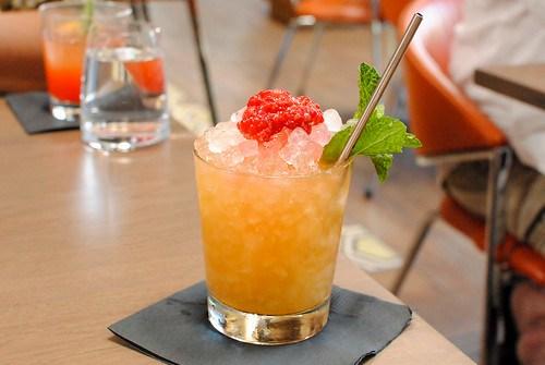 Dramble Aged Dark Rum, Fresh Lemon, Simple Syrup, All-Spice Dram, Muddled Raspberries