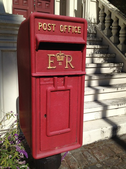 "Red British Elizabeth Regina ""ER"" post box, Dolores Street"