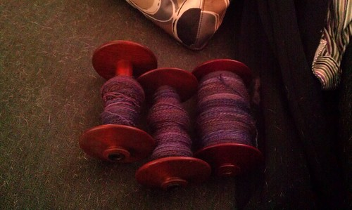 Three bobbins with plied fiber! by Miss Knotty