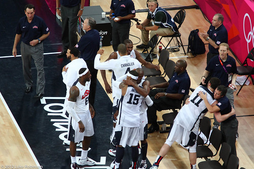 USA team call a timeout with 30 seconds left just to celebrate, USA Spain Olympic Basketball Final, August 12th 2012