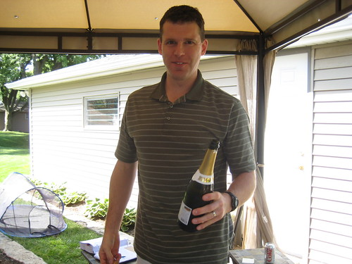 Chris with champagne