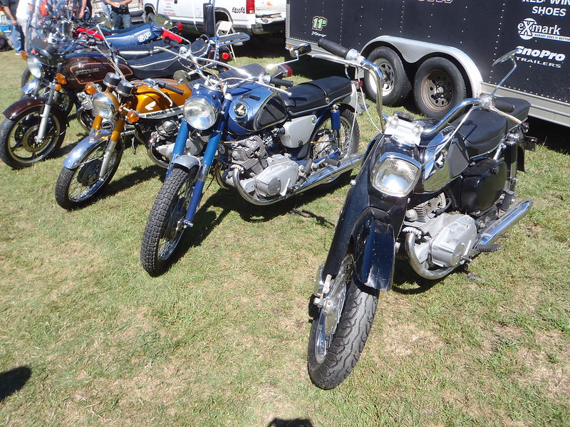 Rogue Suzuki hanging out with old Honda bikes