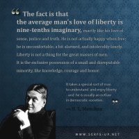H.L Mencken: The Average Man's Love of Liberty is...