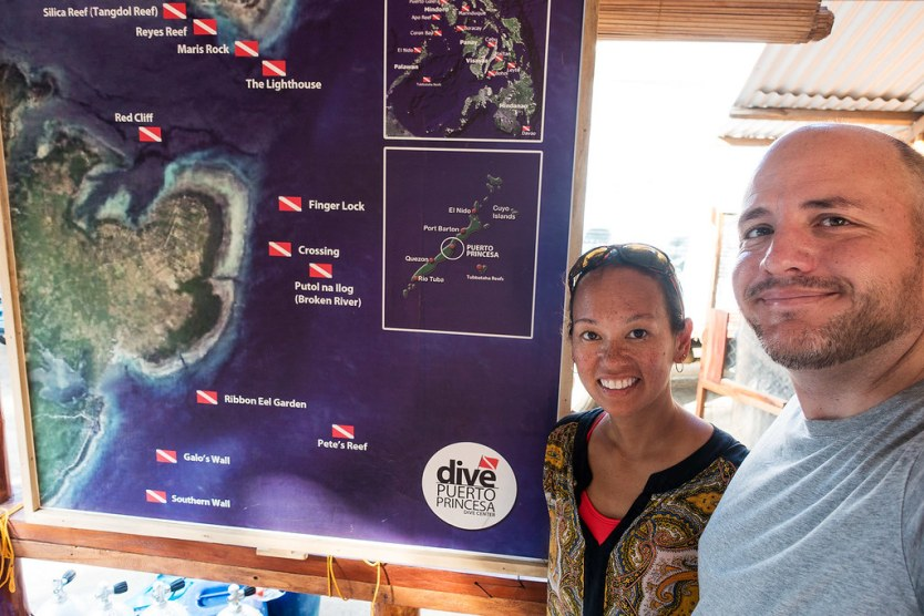 A few of the dive sites off of Puerto Princesa.