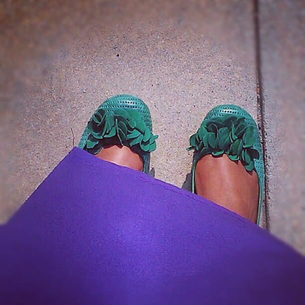 Yesterday black was boring so today a purple wrap dress & green @mizmooz shoes! Even got a compliment on the shoes this morning.