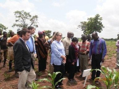 US Senate-USAID monitoring team led by Ms Storme and Ms Rayburn being briefed by Dr, Larbi about the maize trials in one of the Africa RISING project sites in Ghana.