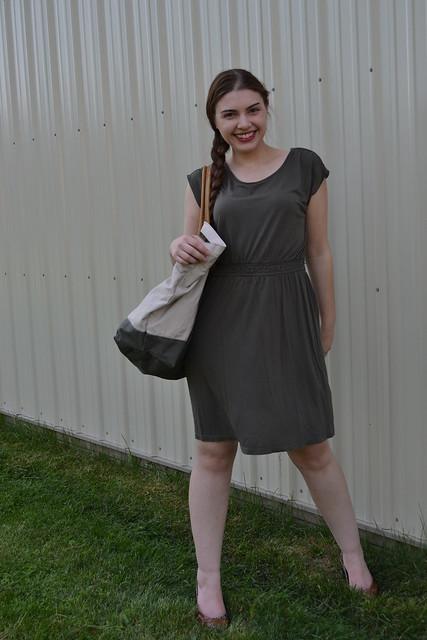 Olive green dress and khaki bag